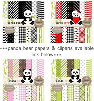 Baby Girl Panda Digital Papers and Cliparts