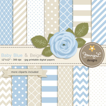 SET: Beige and Blue Digital Paper and Rose Flower Clipart