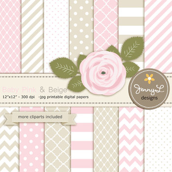 SET: Beige and Pink Digital Paper and Rose Flower Clipart
