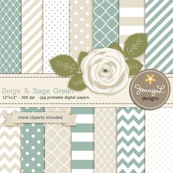 SET: Beige and Sage Green Digital Paper and Rose Flower Clipart