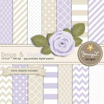 SET: Beige and Violet Digital Paper and Rose Flower Clipart