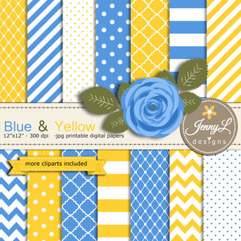 SET: Blue and Yellow Digital Paper and Rose Flower Clipart