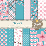 SET: Cherry Blossoms Digital Paper and Clipart, Sakura Flowers