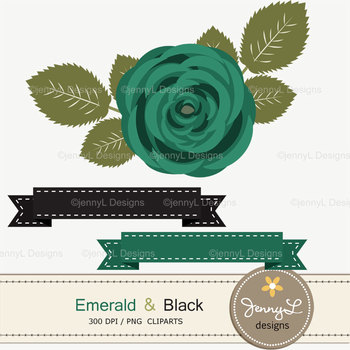 SET: Emerald Green and Black Digital Paper and Rose Flower Clipart
