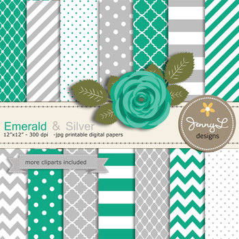 SET: Emerald Green and Silver Digital Paper and Rose Flower Clipart