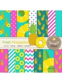 Pineapples Digital Papers and Clipart