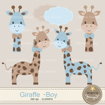 Giraffe Baby Boy Digital Papers and Giraffe Cliparts