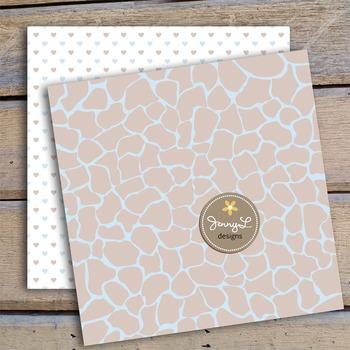 Giraffe Baby Boy Digital Papers and Giraffe Cliparts