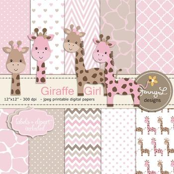 Giraffe Baby Girl Digital Papers and Giraffe Cliparts