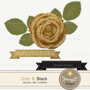 SET: Gold and Black Digital Paper and Rose Flower Clipart