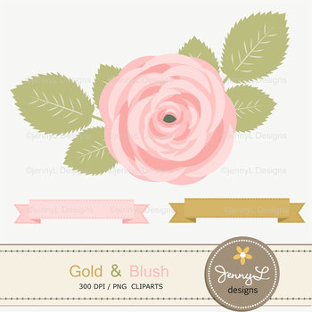 SET: Gold and Blush Paper and Rose Flower Clipart