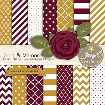 SET: Gold and Maroon Digital Paper and Rose Flower Clipart