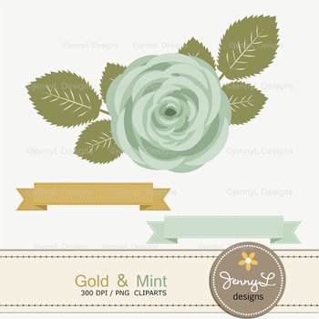 SET: Gold and Mint Digital Paper and Rose Flower Clipart