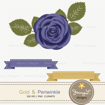 SET: Gold and Periwinkle Digital Paper and Rose Flower Clipart