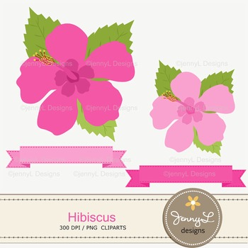 SET: Hibiscus Digital Paper and Clipart, Flower Blossom Luau Party