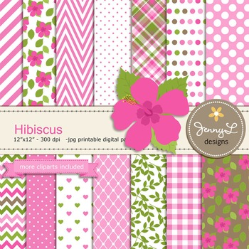 SET: Hibiscus Digital Paper and Clipart, Flower Blossom Lu