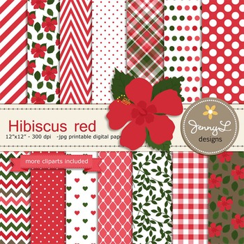 SET: Hibiscus Red Digital Paper and Clipart, Flower Blossom Luau Party