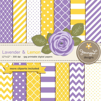 SET: Lavender and Lemon Digital Paper and Rose Flower Clipart