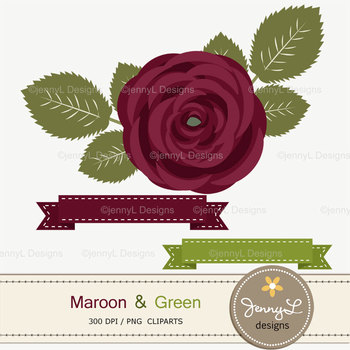 SET: Maroon and Green Digital Paper and Rose Flower Clipart