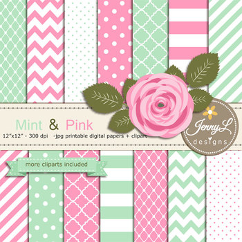 SET: Mint and Pink Digital Paper and Rose Flower Clipart