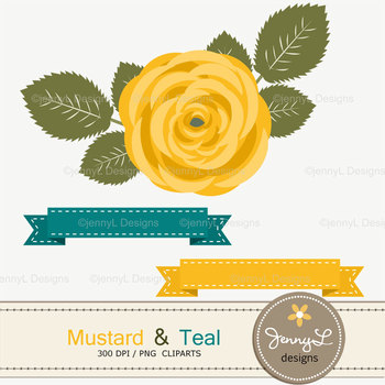 SET: Mustard and Teal Digital Paper and Rose Flower Clipart