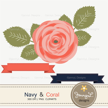 SET: Navy and Coral Digital Paper and Rose Flower Clipart