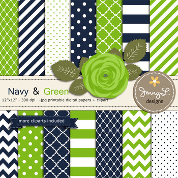 SET: Navy and Green Digital Paper and Rose Flower Clipart