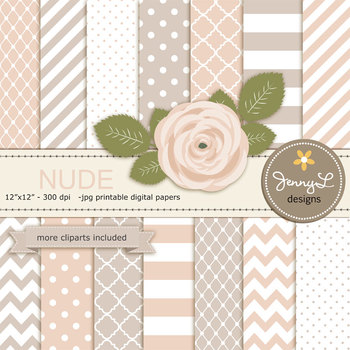 SET: Nude Digital Paper and Rose Flower Clipart