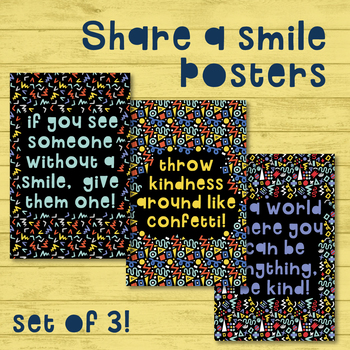 SET OF 3: Share a Smile Posters: Motivation Educational / Counselor / Guidance