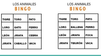 SET OF BINGO CARDS FOR SPANISH CLASS