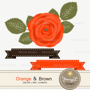 SET: Orange and Brown Digital Paper and Rose Flower Clipart