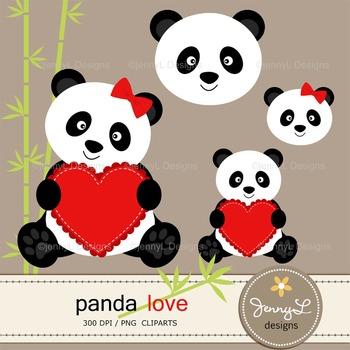 Panda Bear Love Digital Papers and Clipart , Valentine Panda
