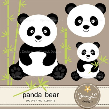 SET:  Panda Digital Papers and Cliparts