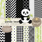 SET:  Panda Digital Papers and Cliparts