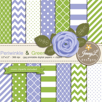 SET: Periwinkle and Green Digital Paper and Rose Flower Clipart