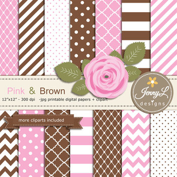 SET: Pink and Brown Digital Paper and Rose Flower Clipart