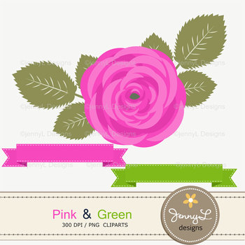 SET: Pink and Green Digital Paper and Rose Flower Clipart
