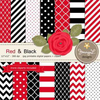 SET: Red and Black Digital Paper and Rose Flower Clipart