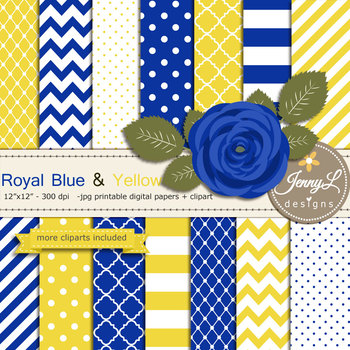 SET: Royal Blue and Yellow Digital Paper and Rose Flower Clipart