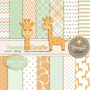 Baby Giraffe Digital Papers and Cliparts