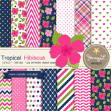 SET: Tropical Hibiscus Digital Paper and Clipart, Flower Blossom Luau Party