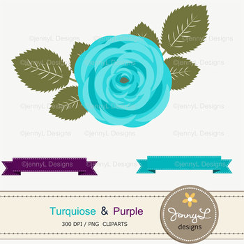 SET: Turquoise and Purple Digital Paper and Rose Flower Clipart