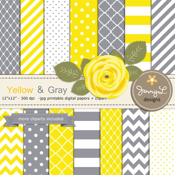 SET: Yellow and Gray Digital Paper and Rose Flower Clipart
