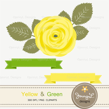 SET: Yellow and Green Digital Paper and Rose Flower Clipart