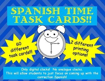 SET of 60! Spanish Time Task Cards- Digital Clocks