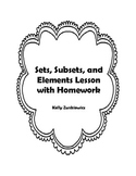 SETS - Sets, Subsets, and Elements Lesson and Homework