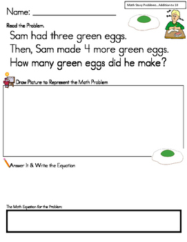 SEUSS THEMED ADDITION MATH STORY PROBLEMS TO 10 * READ.DRAW.ANSWER IT!
