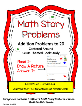 SEUSS THEMED ADDITION MATH STORY PROBLEMS TO 20*READ.DRAW.ANSWER IT!