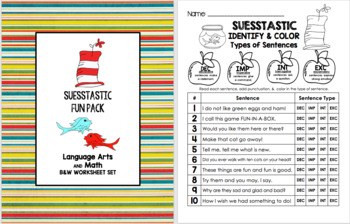 SEUSSTASTIC FUN PACK - Language Arts and Math BW Worksheet Set