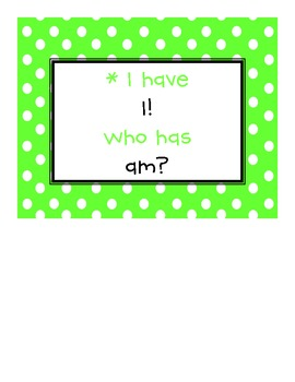 """SF Kindergarten Reading Street """"I Have Who Has"""" Game"""